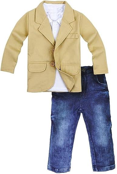 Kids Toddler Boy Gentle Long Sleeve Blazer Coat Denim T-shirt Pants Jackets Sets