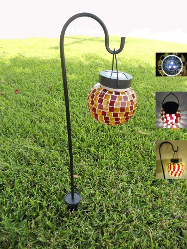 Furniture Outdoor Tiffany Mosaic (Tiffany Style Mosaic Glass Solar Decorative Light Sheppard Hook)
