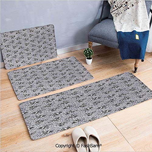 FashSam 3 Piece Flannel Bath Carpet Non Slip Crowned Skull Crossbones Illustration Against Animal Print Pattern Front Door Mats Rugs for Home(W15.7xL23.6 by W19.6xL31.5 by W15.7xL39.4) ()