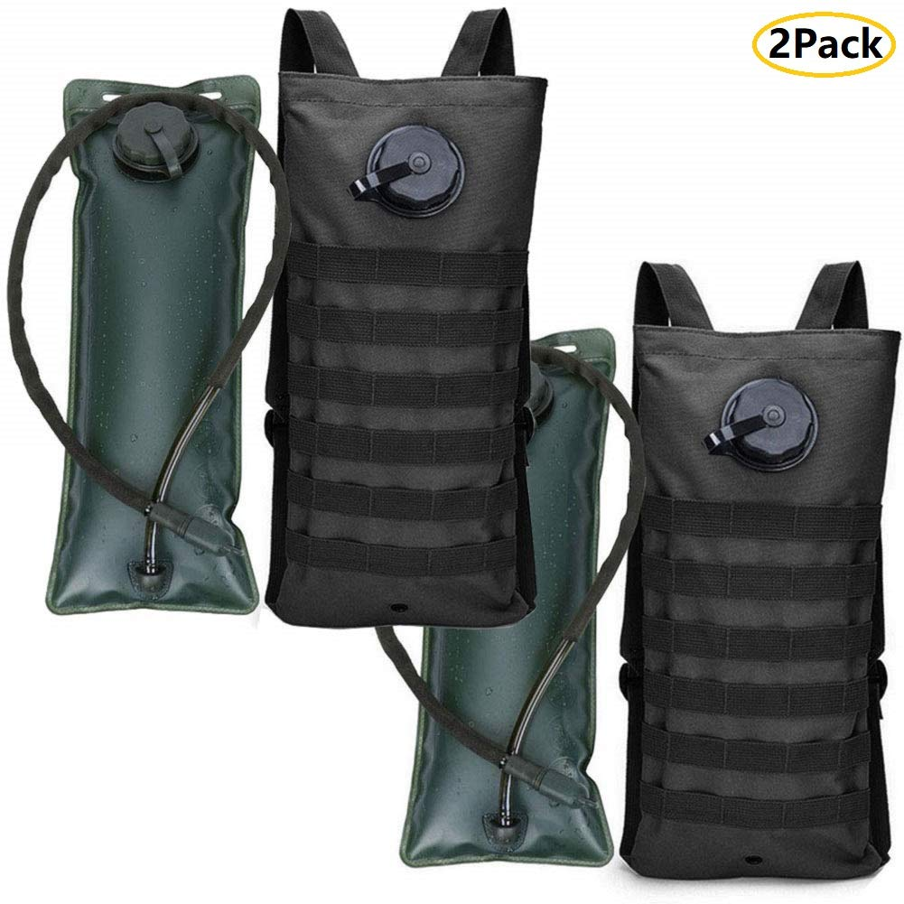 AIMILL Tactical Molle Hydration Pack Bag Water Camel Backpack Reservoir Carrier Daypack (2Pack Black, 2.5-3L (84-100oz)) by AIMILL