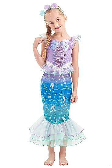 KIDSEPT Disfraz de Sirena para niñas, Traje de Princesa de Cuento ...