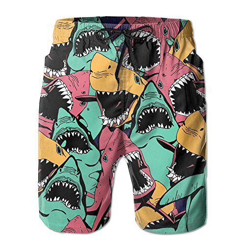 UNIQUE Pants Shark Seamless Men's Quick Dry Beach Board Shorts Summer Swim Trunks for Father's Day for Boy Swimming -