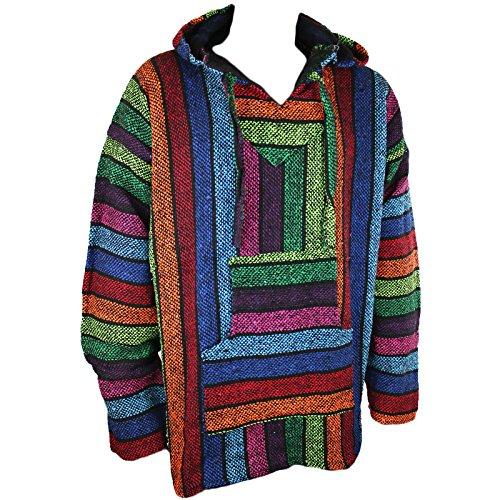 Mexikanisches Baja Jerga-Kapuzenhemd, Hippie-Stil, Regenbogenfarben, Größen M / L / XL / XXL