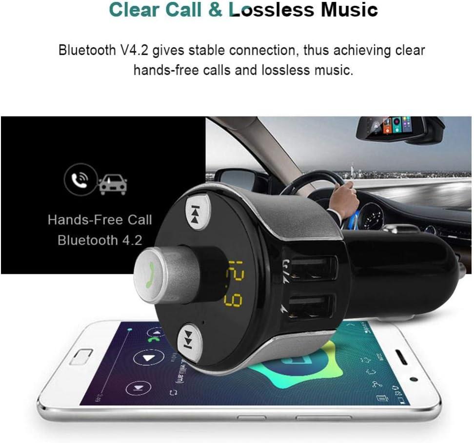 Denash Transmetteur FM de Voiture Appel Mains Libres U Disque//Carte TF Transmetteur FM de Voiture Bluetooth Chargeur de Double transmetteur FM de Voiture USB