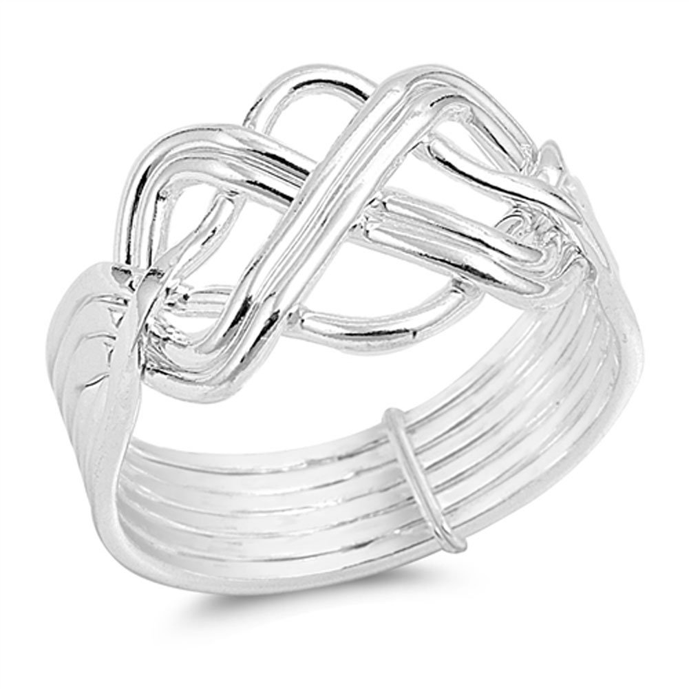 High Polish Bar Knot Puzzle Ring New .925 Sterling Silver Band Size 8