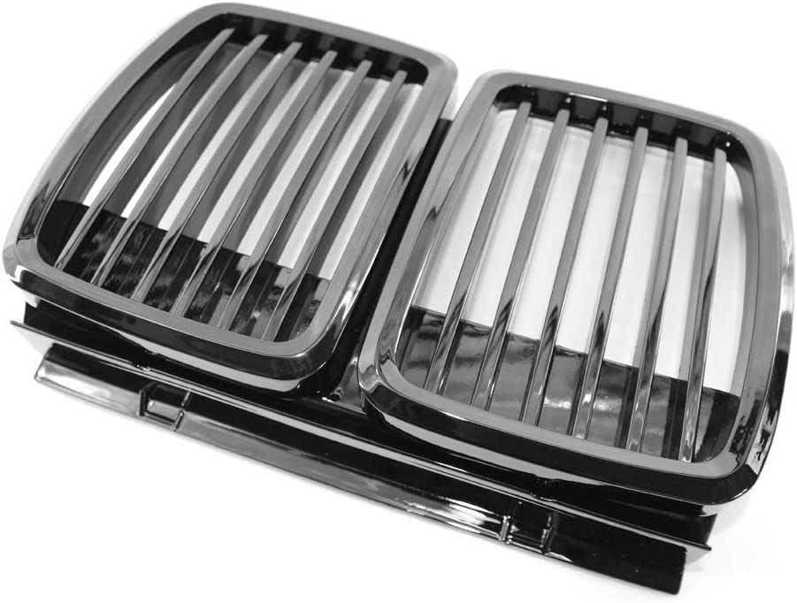 KKmoon Front Grille Replacement for BMW E30 82-94 3 Series Grille High Gloss Black Cool Bussiness Style
