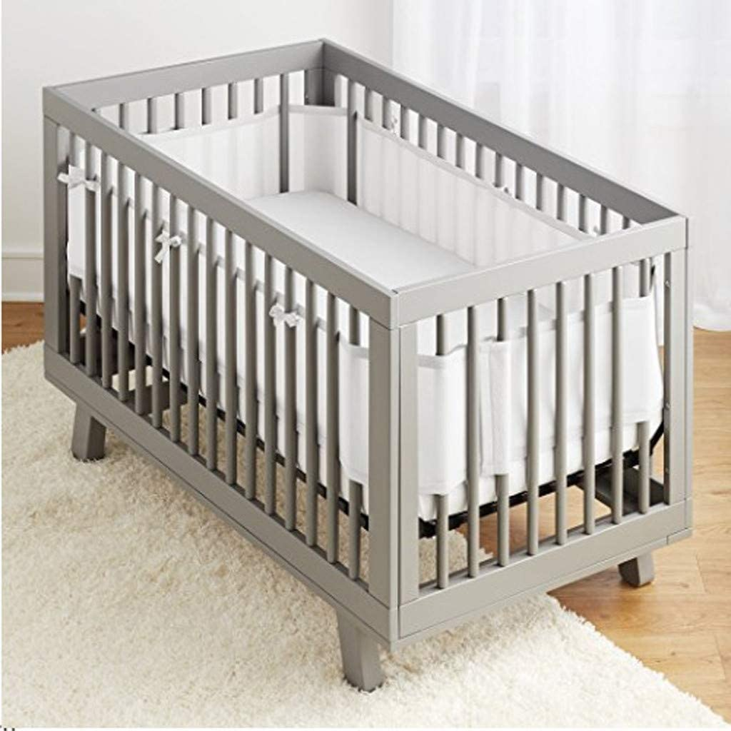 Grey Mesh Cot Bumper for Full-Size Crib Breathable Mesh Liner Gray, 465x0.25x27cm JIANGfu Toddler Baby Bed Breathable Crib Bumperm