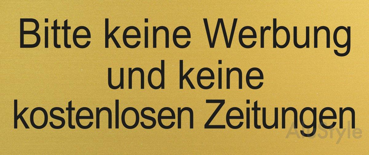 Bitte-Keine-Werbung-und-Keine-kostenlosen-Zeitungen Briefkasten-Schild Nr.28994 66 x 25 mm vollfl/ächige Selbstklebeausstattung Messingschild-Optik
