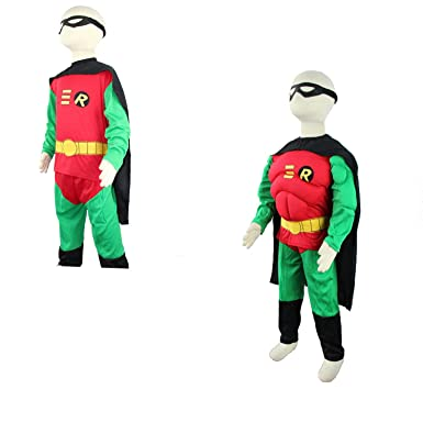 Kinder Robin Kostum Karneval Halloween Party Fasching Comic Muskel