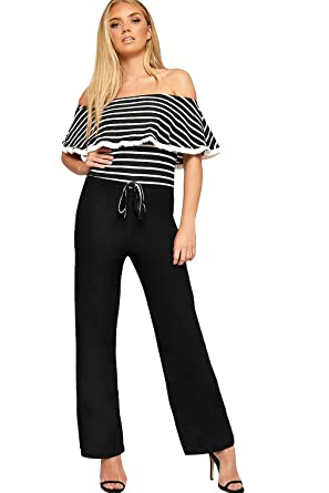 4814a291db1 WearAll Women s Striped Print Layered Frill Bardot Off Shoulder Wide Leg  Crepe Trousers Ladies Jumpsuit 6-14  Amazon.co.uk  Clothing
