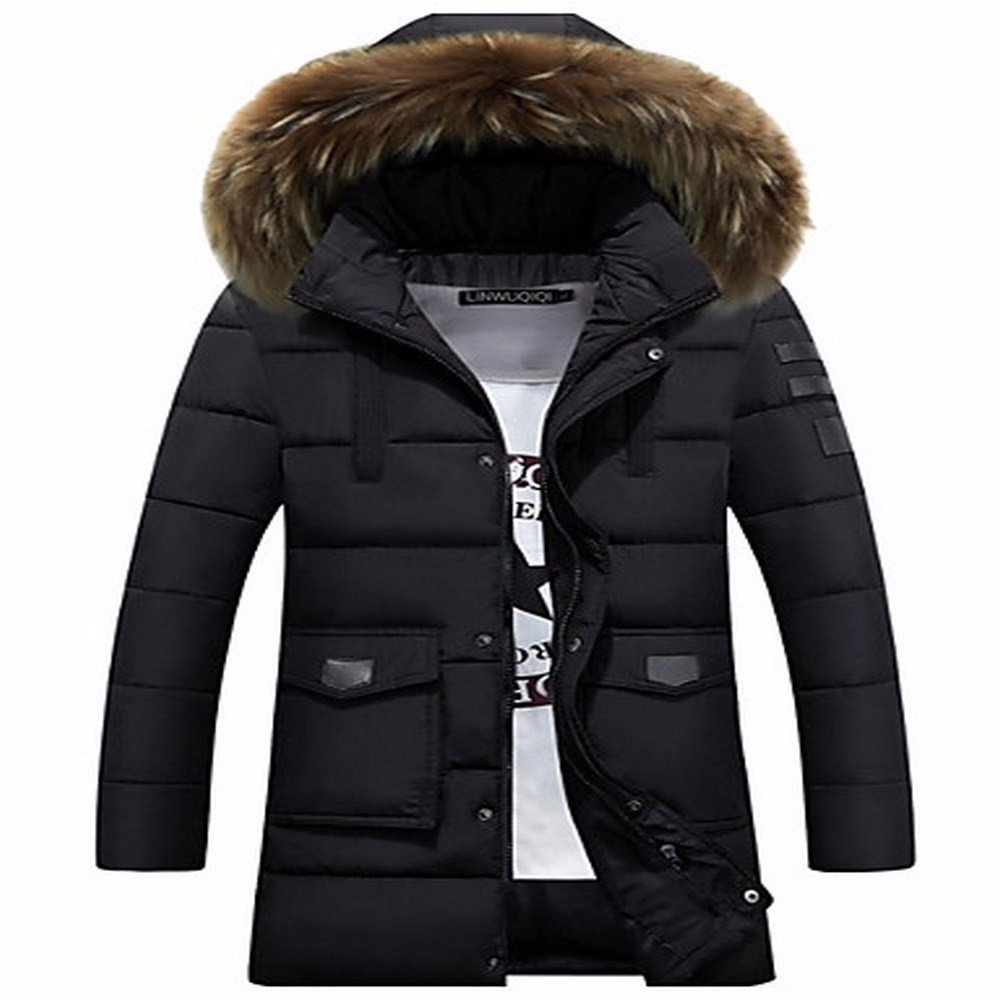 noir L ZHUDJ Hommes's Padded Coat,Daily Solid-Cotton à Manches Longues Polyester