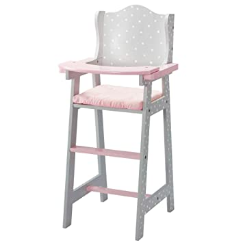Olivia S Little World Baby Doll Furniture Baby High Chair Grey Polka Dots Gray