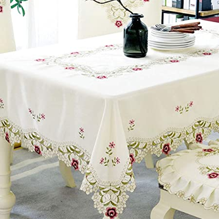 Round Tablecloth Words Flowers Roses Vintage Cotton Sateen
