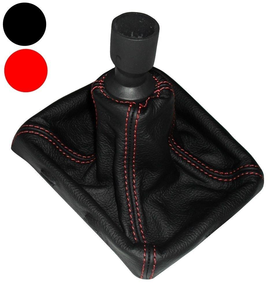 Funda para palanca de cambios 100/% Piel Genuina negro Costuras de color rojo AERZETIX