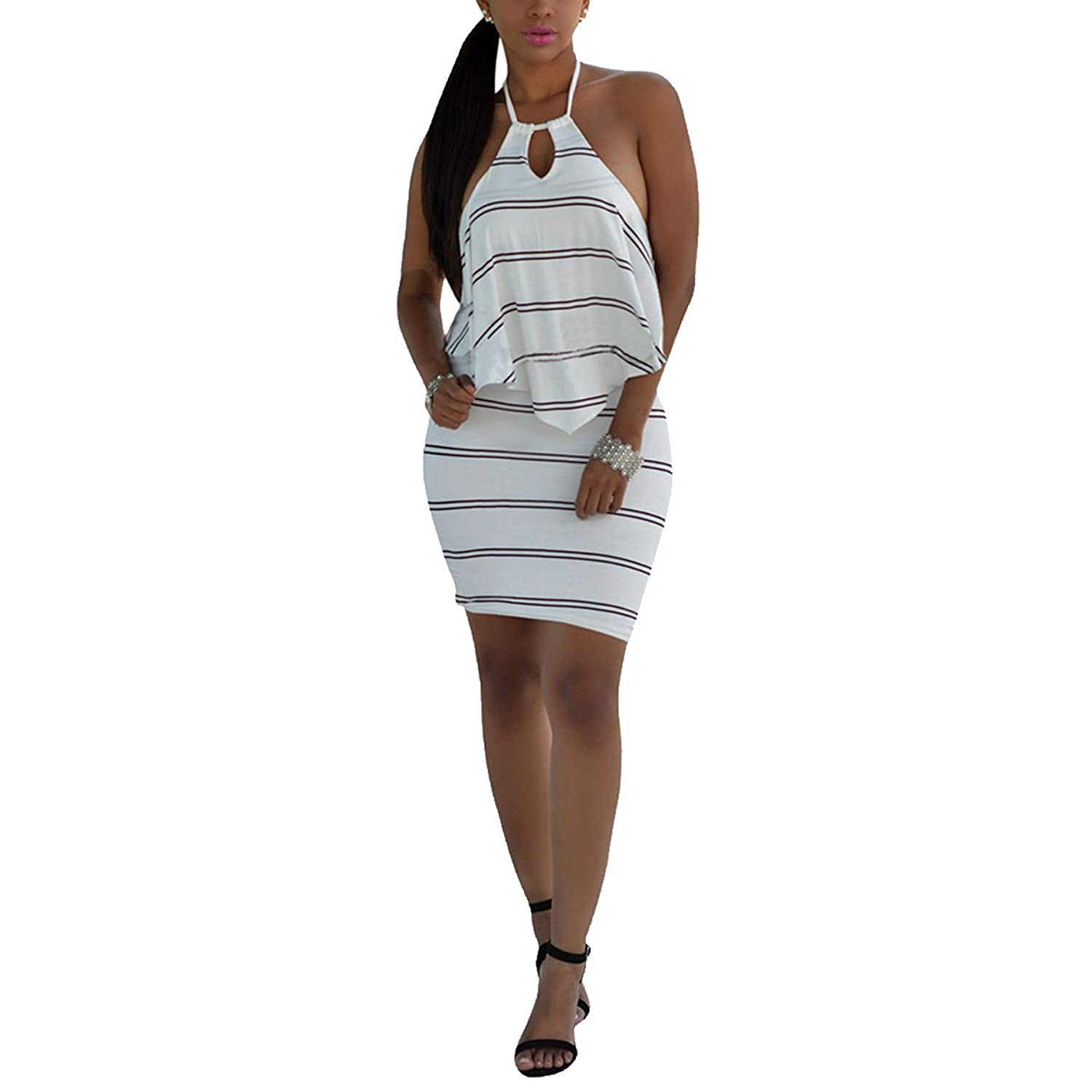 Womens Halter Stripes Sleeveless Backless Bodycon Party Club Mini Dress