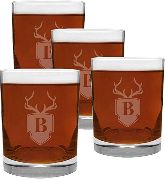 4 Piece Glass Set Engraved with Antler and Shield B-Letter Monogram