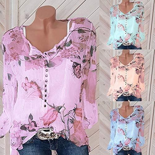 TWIFER 2020 szyfonowa koszulka damska na lato, z kwiatami na zatrzask, bluzka szyfonowa, nieregularna krawędź koronkowa: Odzież