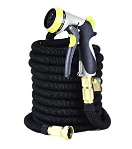 "GreenFriendlyHome - 2019 50ft Expandable Garden Hose, Flexible Expanding Water Hose, Strongest Double Latex Core & Outer Fabric, 3/4"" Solid Brass Fittings, Metal 8 Function Spray Nozzle, Portable"