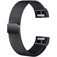 pain&tHSM Compatible with Fitbit Charge 2 Metal Wristband Replacement Watch Band Strap for Women Men