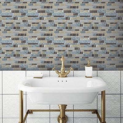 "RoomMates TIL3234FLT Blue Long Stone Peel and Stick Tile Backsplash, 4-pack 10.5"" X 10.5"""