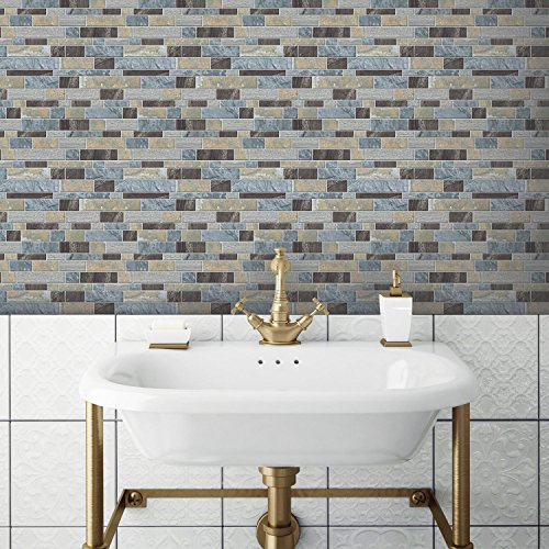 4pk Long Stone Sticktiles Blue - RoomMates