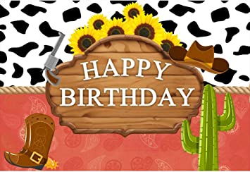CSFOTO 8x6.5ft Happy Birthday Backdrop West Cowboy Themed Birthday Party Photography Background for Little Cowboy Children Kids Boy Photocall Vinyl Wallpaper
