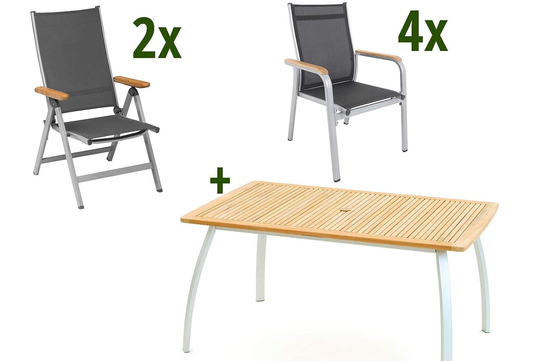 Belardo Avantgarde Sitzgruppe, weiß/Silber/anthrazit, Alu/FSC Teakholz, 150 x 90 cm, 4 Stapelsessel, 2 Multipos
