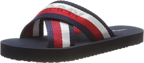 Tommy Hilfiger Damen Sandalen Badelatschen Beach Schuhe Slipper red