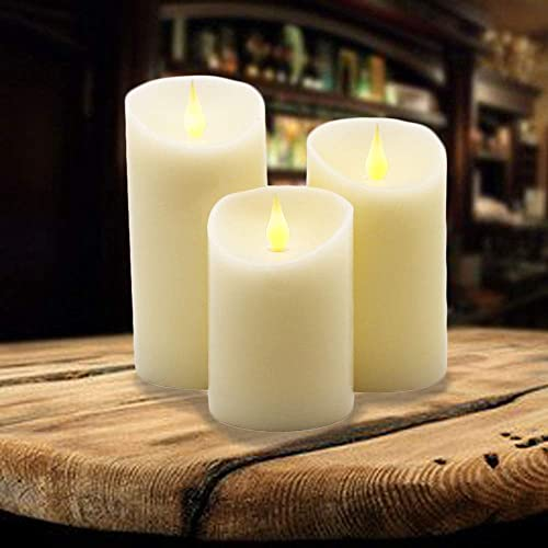 YASENN Jumping Flame Flameless Candles 3 Pack,Real Wax Pillar Flameless Candles Battery Operated LED Dancing Flame Candles for Wedding Season Table Home Decoration