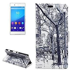 Street Trees Pattern Funda Horizontal con tapa piel Case Cover con Slots & Wallet Card Holder & Sony para Xperia C4