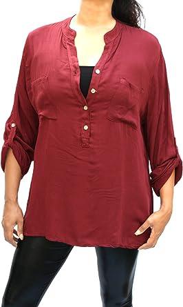 Moda Italy - Camisas - Túnica - cuello mao - para mujer borgoña 40: Amazon.es: Ropa y accesorios