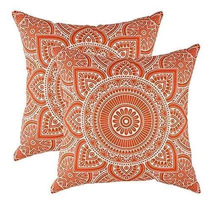 TreeWool - Pack de 2 - Mandala Acento Decorativo Fundas de cojín, 100% algodón (40 x 40 cm / 16 x 16 Pulgadas, Naranja)