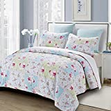 N2 3 Piece White Blue Red Green Floral Full Queen Quilt Set, Pink Flower Themed Bedding Patchwork Rose Garden Boho Bohemian Cottage French Country Shabby Blush Chic Stylish Vintage Flowers, Cotton