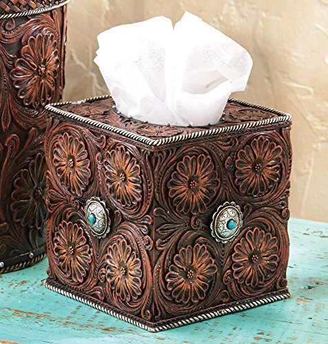 BLACK FOREST DECOR Western Tooled Leather Tissue Box -