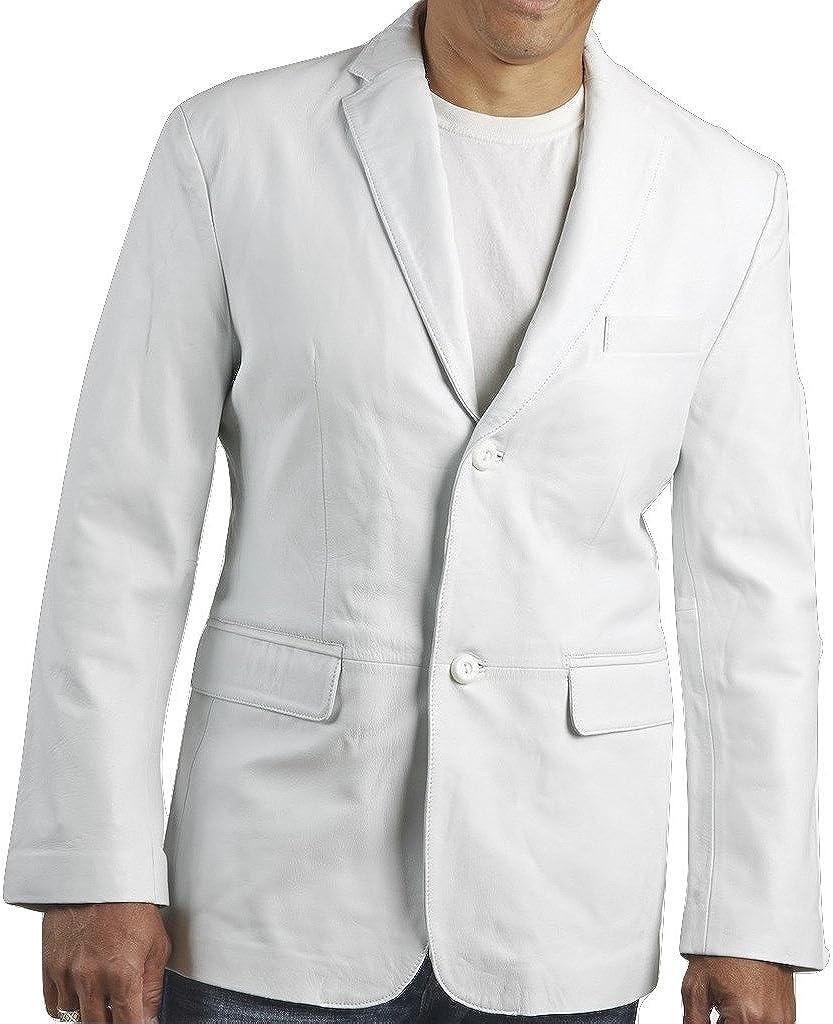 Mens Classic White Leather Blazer