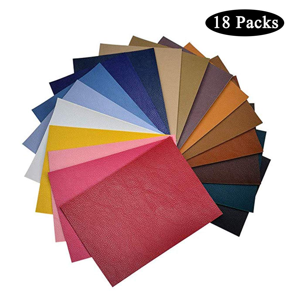 Self-Adhesive Leather Patches, 4.3 x 8.6 Inch Leather Repair Kit, 18 Pieces PU Leather Patches for Sofas, Drivers Seat, Couch, Handbags, Jackets (Multi Color) by Cshopping