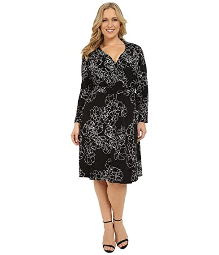 Vince Camuto Womens Plus Floral Print Surplice Wear to Work Dress
