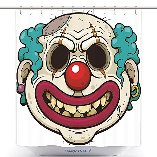Unique Shower Curtains Vector Illustration Of Cartoon Clown Zombie Face 503880913 Polyester Bathroom Shower Curtain Set With (Scary Clown Costumes Ebay)