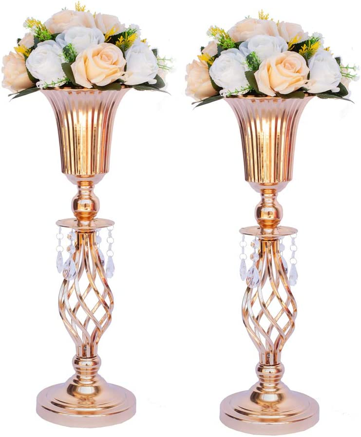 Amazon Com Lanlong Set Of 2 Tall Metal Wedding Centerpieces For Reception Tables Gold Flower Vase Stand Base Decortion For Party Events Birthday Celebration Ceremonies Gold 20in Furniture Decor