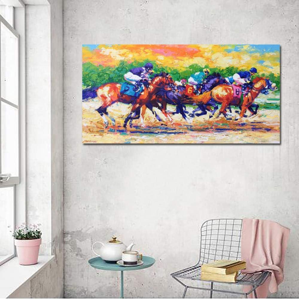 Pintura contemporánea con cuchillo carreras de caballos pintura de paisaje mural nórdico de alta calidad sin marco A 40x80cm