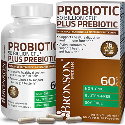 Bronson Probiotic 50 Billion CFU + Prebiotic with Apple Polyphenols & Pineapple Fruit Extract for Women & Men Non-GMO Gluten-Free Soy-Free, 60 Vegetarian Capsules