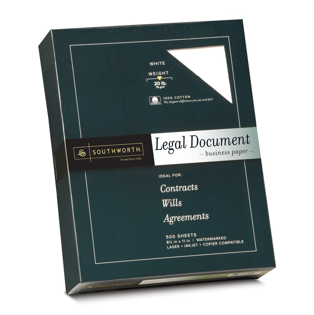 100 cotton legal document paper white 20 lbs wove 8 1 2 x 11