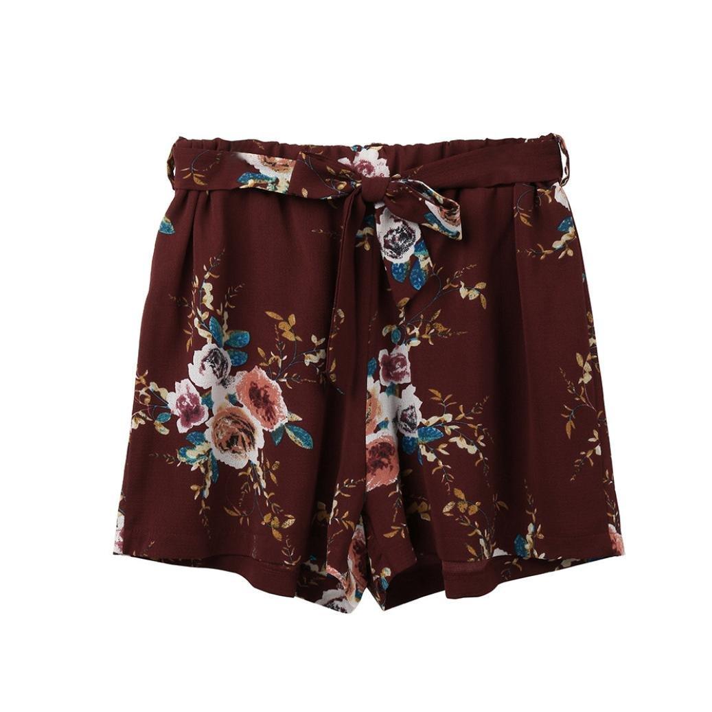 Nevera Women Floral Print Elastic Waist Short Pants Casual Beach Shorts