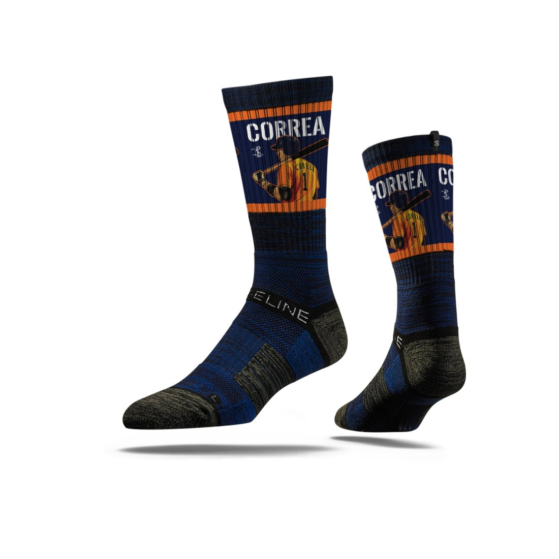 Strideline MLB PA Houston Astros Carlos Correa Premium Crew Socks, Navy, One Size