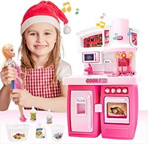 Kitchen Set for Girls Doll House Kitchen Toy Asseccories and Furniture Set with Chef Doll Pull-Out Refrigerator and Microwave Oven Toy Mini Kitchen Toy Set With Sound and Light Doll Gifts for Girls 3+