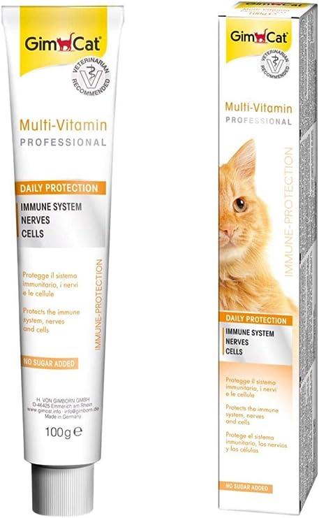 GimCat pasta multivitaminas , Aperitivo para gatos nutritivo con vitaminas, elementos reconstituyentes y fibra de origen vegetal , 1 paquete (1 x 100 g): Amazon.es: Productos para mascotas