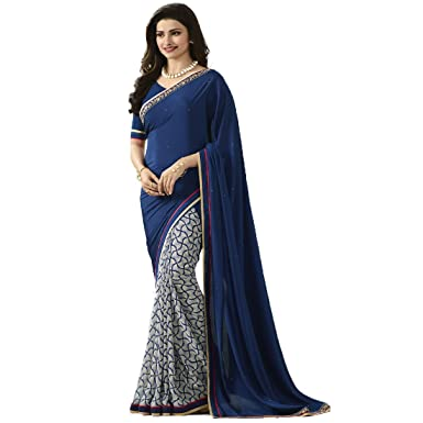 Shree Maruti Enterprise Women s Georgette Saree (Blue   Off-White)   Amazon.in  Clothing   Accessories 61e2bede6e