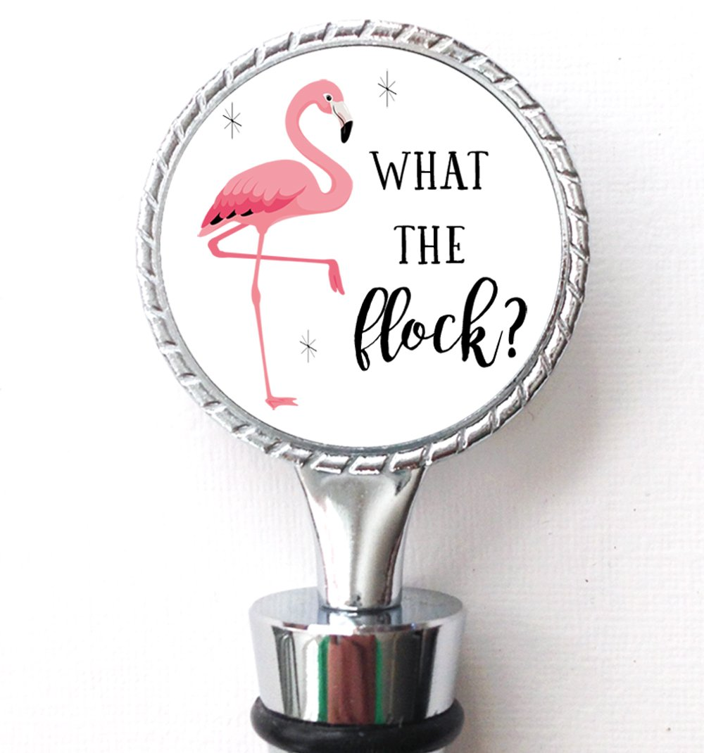 What the Flock Pink Flamingo Wine Bottle Stopper Double Sided