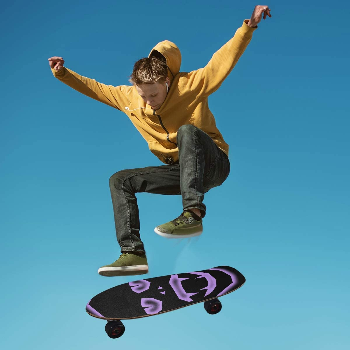 Purple Evil Face Anti Slip Bubble Free Waterproof Grip Tape Sheet Easy to Install for Skateboard,Longboard,Scooter,Rollerboard,Balance Board