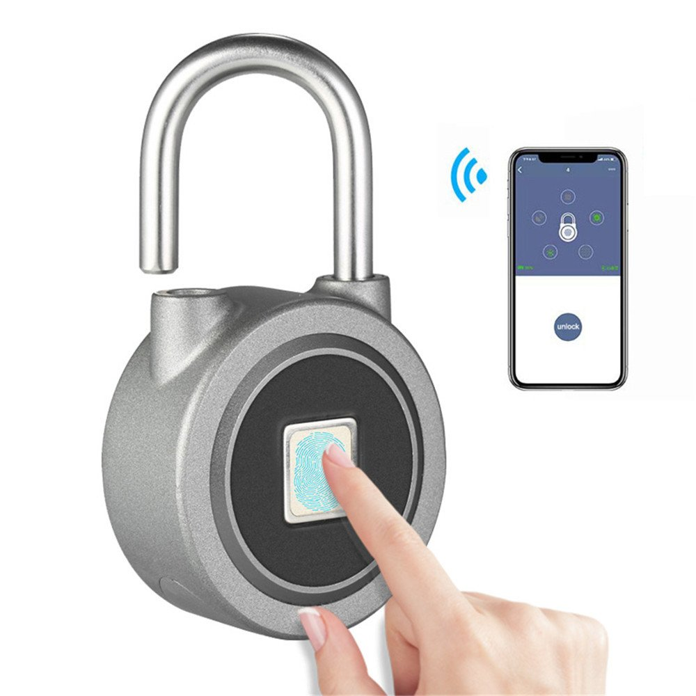 Rumfo Fingerprint Padlock, Bluetooth Connection Metal Waterproof, Suitable for House Door/Suitcase/Backpack/Gym/Bike/Office/APP is Suitable for Android/IOS Support USB Charging (Silver)